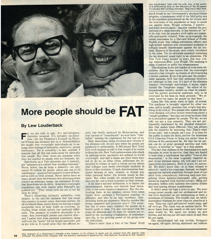 """More People Should be Fat"", un article de Llewellyn Louderback publié en 1967 dans The Saturday Evening Post."