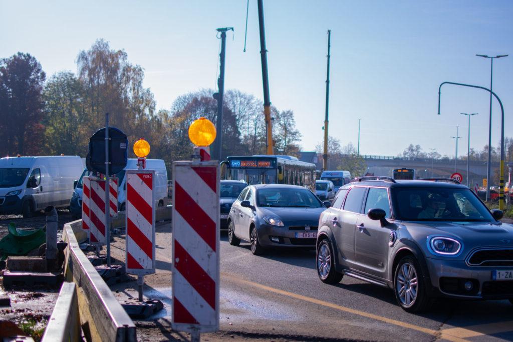 Les travaux provoquent des gros embarras de circulations à l'entrée de Bruxelles