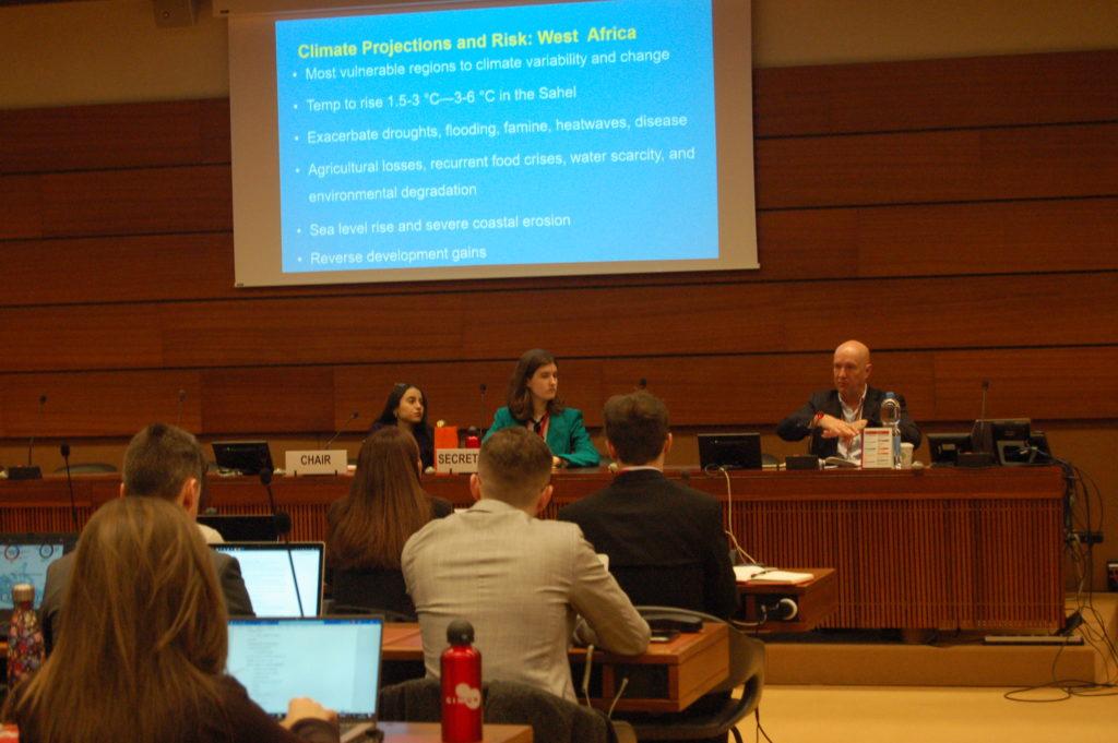 Allocution d'Andrew Harper, conseiller spécial du Haut Commissariat pour les réfugiés (HCR) pour l'action climatique devant le comité UNEP lors du GIMUN 2020