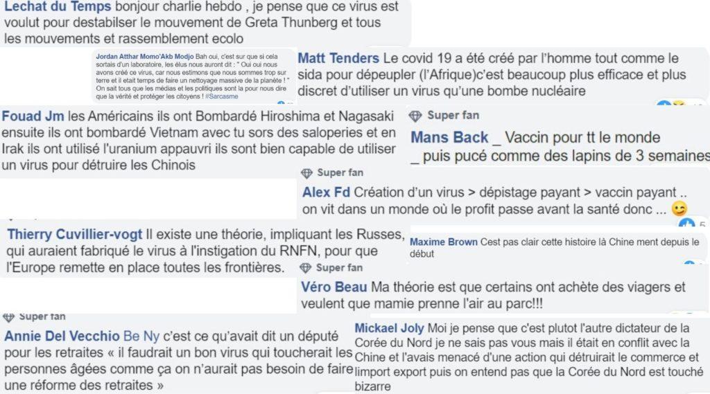 Assemblage de commentaires sur les théories du complot liées au coronavirus sur les réseau sociaux
