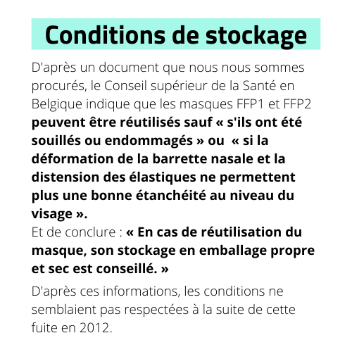 Conditions de stockages des masques